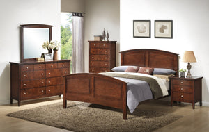 Cheffes 136 Cherry Wood Bed Room Set - Queen Bed   Dresser   Mirror   Chest