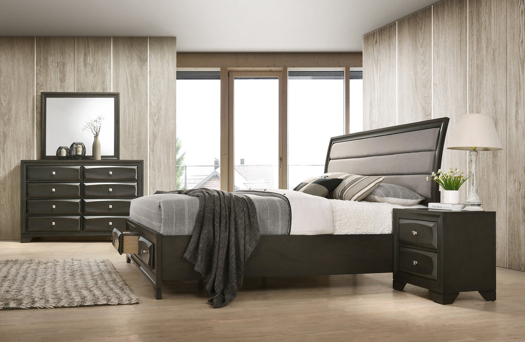 Asger Antique Gray Finish Wood Bedroom Set with Upholstered King Bed, Dresser, Mirror, Nightstand
