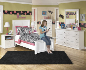 Buckwick Shoals Casual White Bedroom Set: Twin Bed, Dresser, Mirror, 2 Nighstands, Chest