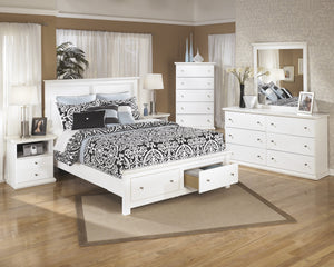 Buckwick Shoals Casual White Bedroom Set: Queen Storage Bed, Dresser, Mirror, 2 Nighstands, Chest