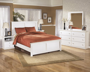 Buckwick Shoals Casual White Bedroom Set: King Bed, Dresser, Mirror, 2 Nighstands