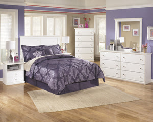 Buckwick Shoals Casual White Bedroom Set: Full Headboard, Dresser, Mirror, 2 Nightstands, Chest