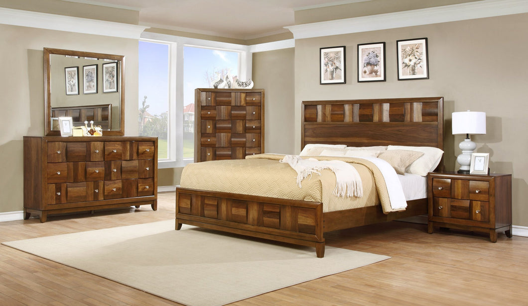 Calais Walnut Finish Solid Wood Construction Bedroom set  King Bed  Dresser  Mirror  Night Stand  Chset