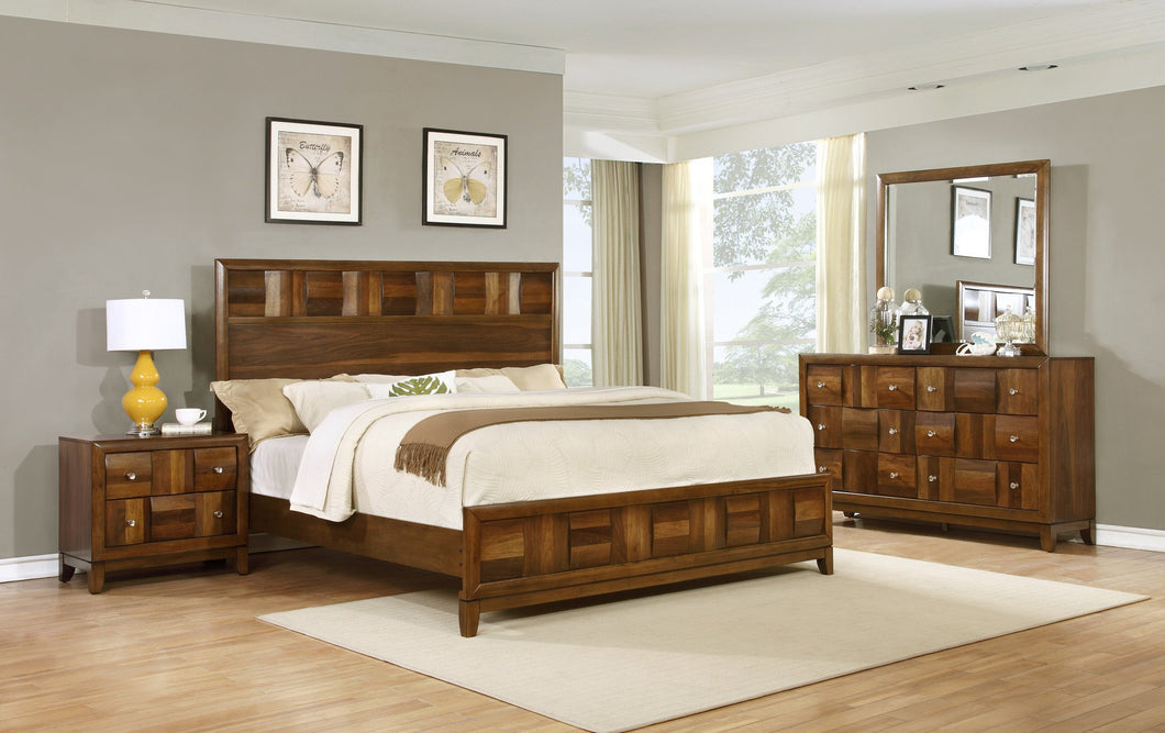 Calais Walnut Finish Solid Wood Construction Bedroom set  King Bed  Dresser  Mirror  Night Stand