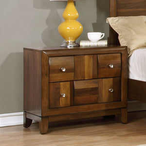 Calais Walnut Finish Solid Wood Construction Nightstand