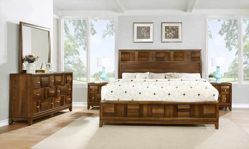 Calais Walnut Finish Solid Wood Construction Bedroom set  Queen Bed  Dresser  Mirror  2 Night Stands