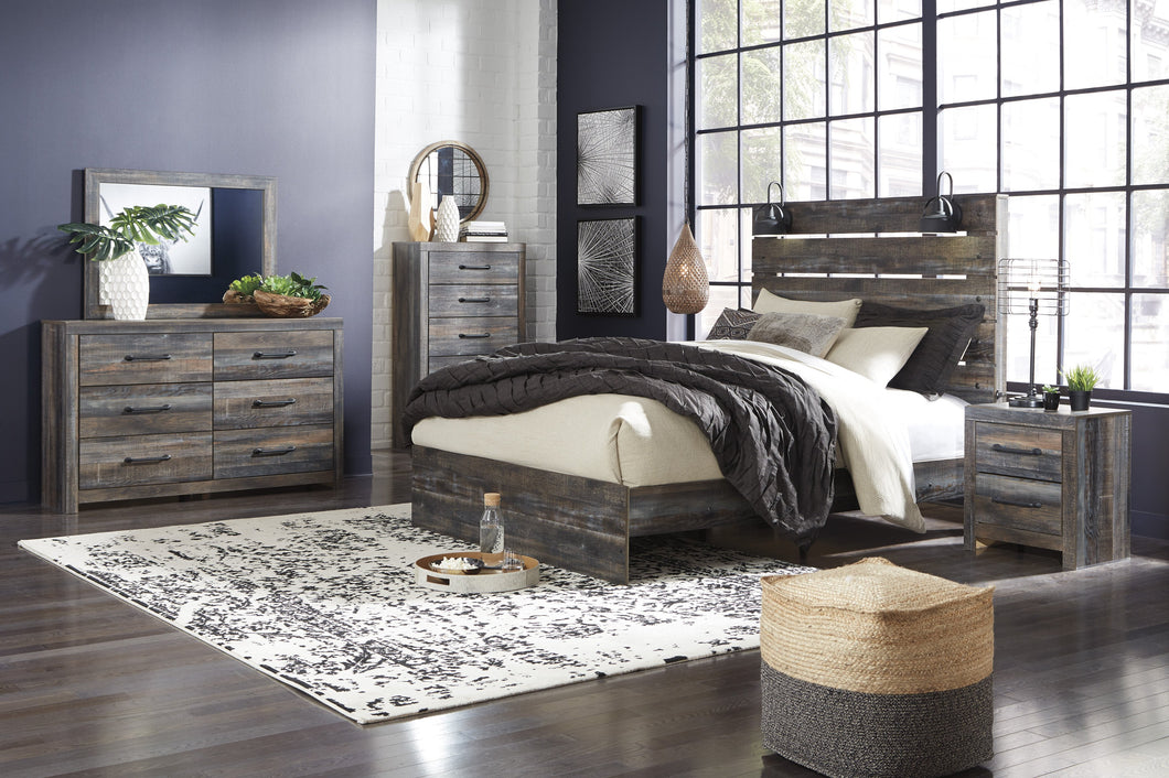 Ararat Rustic Wood Queen Panel Bed with Lights, Dresser, Mirror, Nightstand and Chest Set