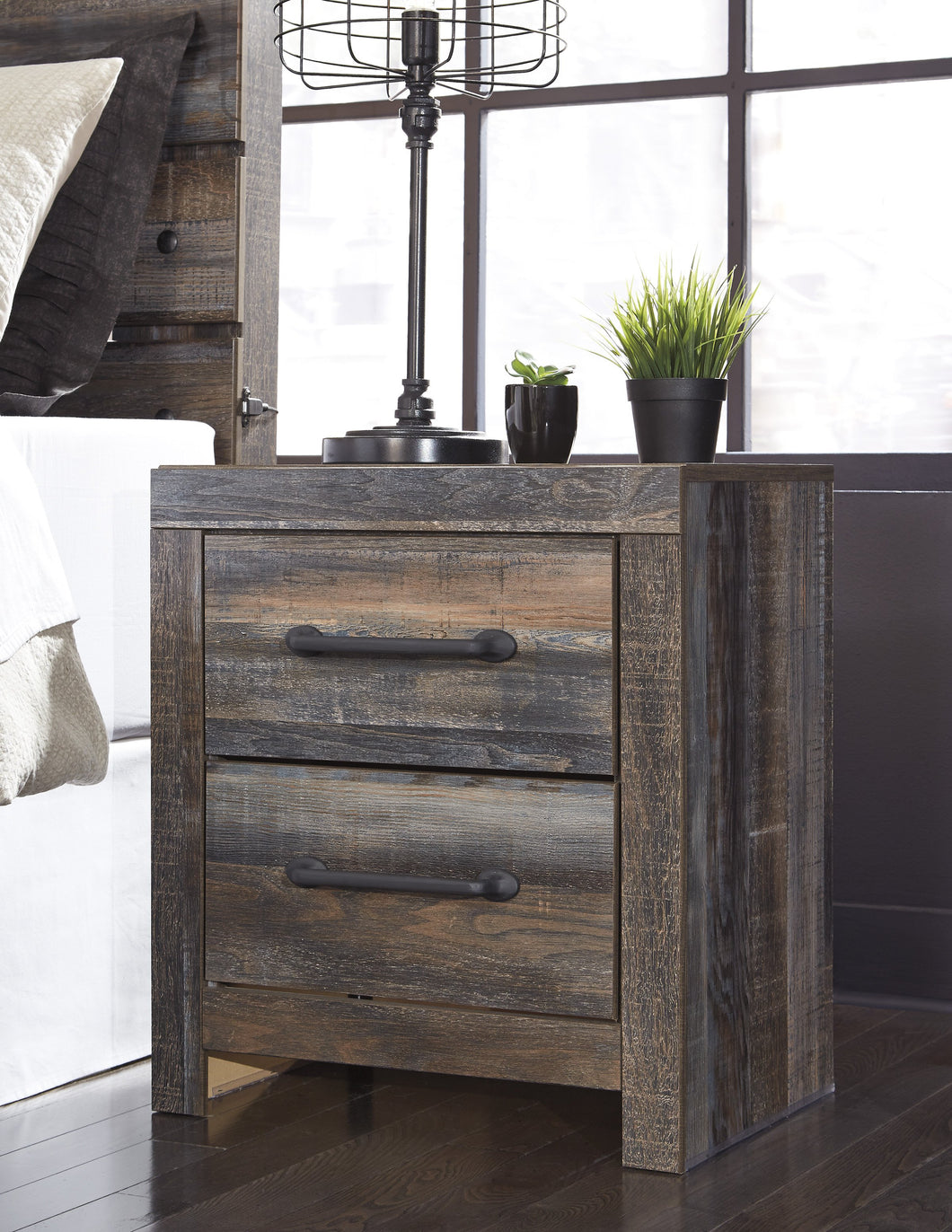 Ararat Rustic 2-Drawer Wood Nightstand