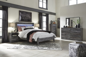 Bayside Casual Gray Bedroom Set: Queen Bed, Dresser, Mirror, 2 Nightstands, Chest