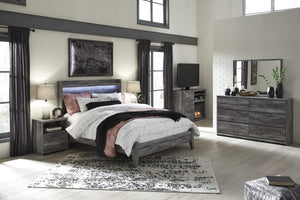 Bayside Casual Gray Bedroom Set: Queen Bed, Dresser, Mirror, 2 Nightstands, Fireplace TV Chest