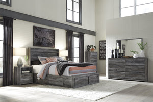 Bayside Casual Gray Bedroom Set: Queen 6 Drawers Storage Bed, Dresser, Mirror, Nightstand, Chest