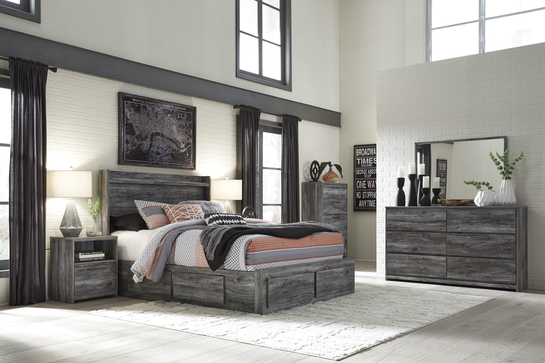 Bayside Casual Gray Bedroom Set: Queen 6 Drawers Storage Bed, Dresser, Mirror, 2 Nightstands, Chest