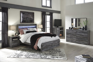 Bayside Casual Gray Bedroom Set: Queen 2 Drawers Storage Bed, Dresser, Mirror, Nightstand, Fireplace TV Chest