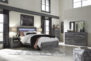 Bayside Casual Gray Bedroom Set: Queen 2 Drawers Storage Bed, Dresser, Mirror, 2 Nightstands, Chest