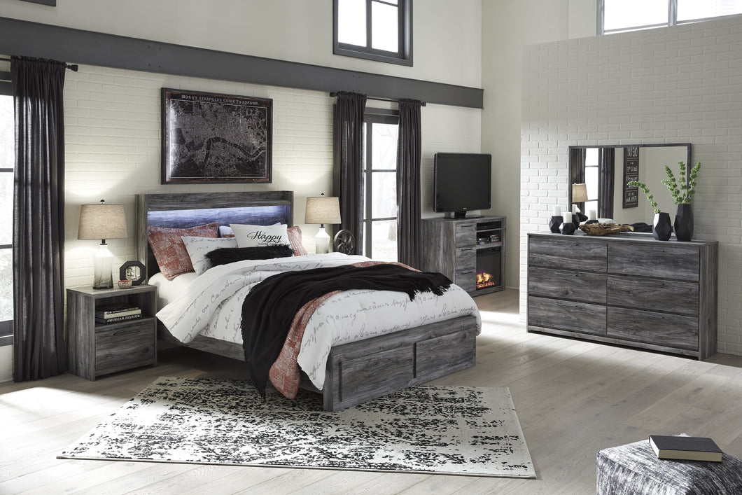 Bayside Casual Gray Bedroom Set: Queen 2 Drawers Storage Bed, Dresser, Mirror, 2 Nightstands, Fireplace TV Chest