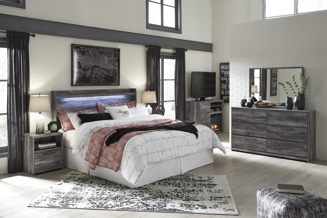 Bayside Casual Gray Bedroom Set: King Panel Headboard, Dresser, Mirror, Nightstand, Fireplace TV Chest