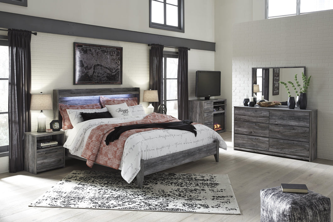 Bayside Casual Gray Bedroom Set: King Bed, Dresser, Mirror, Nightstand, Fireplace TV Chest