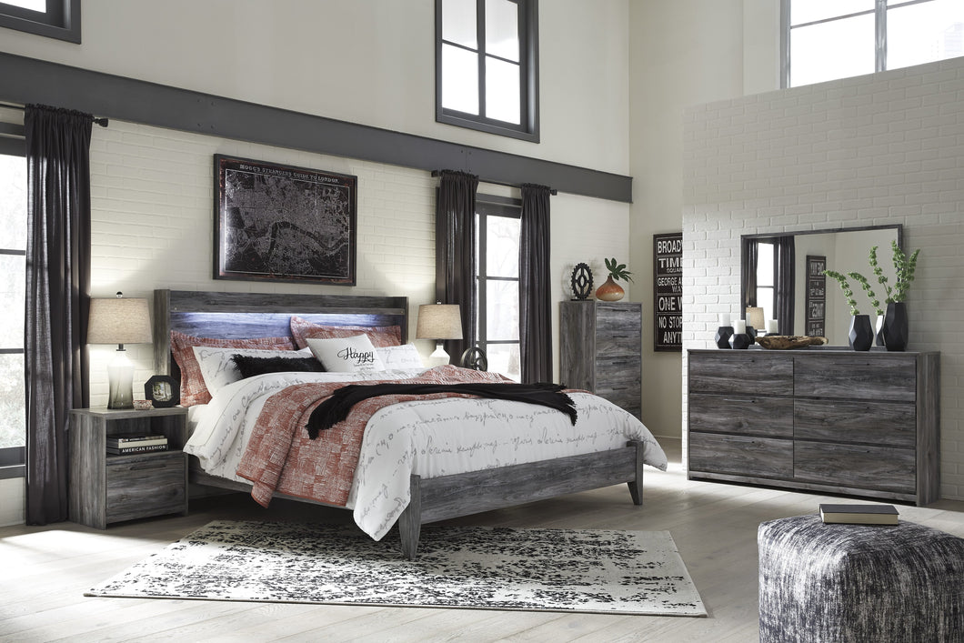 Bayside Casual Gray Bedroom Set: King Bed, Dresser, Mirror, 2 Nightstands, Chest