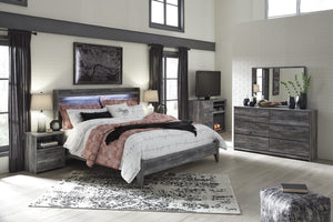 Bayside Casual Gray Bedroom Set: King Bed, Dresser, Mirror, 2 Nightstands, Fireplace TV Chest