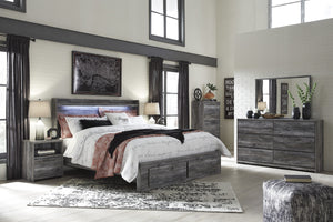 Bayside Casual Gray Bedroom Set: King 2 Drawers Storage Bed, Dresser, Mirror, Nightstand, Chest