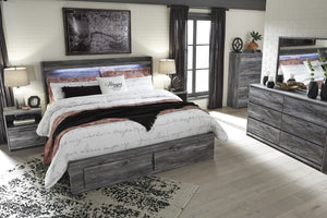 Bayside Casual Gray Bedroom Set: King 2 Drawers Storage Bed, Dresser, Mirror, 2 Nightstands, Chest