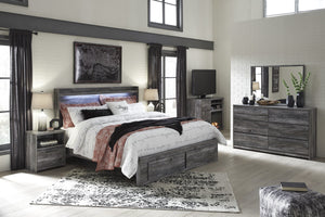 Bayside Casual Gray Bedroom Set: King 2 Drawers Storage Bed, Dresser, Mirror, 2 Nightstands, Fireplace TV Chest