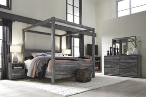 Bayside Casual Gray Bedroom Set: Queen Canopy Bed, Dresser, Mirror, Nightstand, Fireplace TV Chest