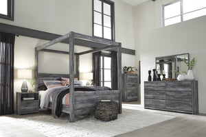 Bayside Casual Gray King Canopy Bed, Dresser, Mirror, Nightstand, Chest