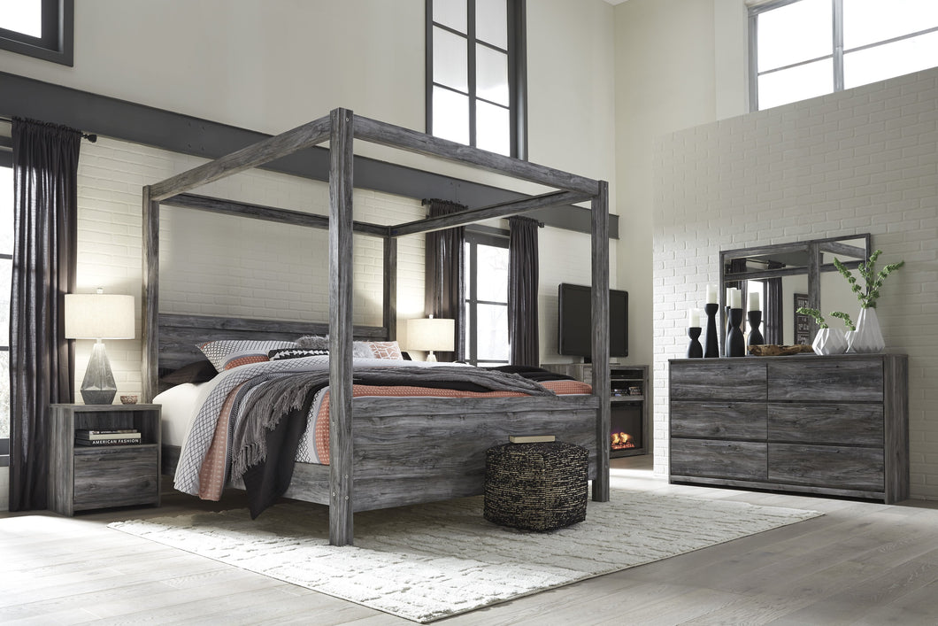Bayside Casual Gray King Canopy Bed, Dresser, Mirror, 2 Nightstands, Fireplace TV Chest