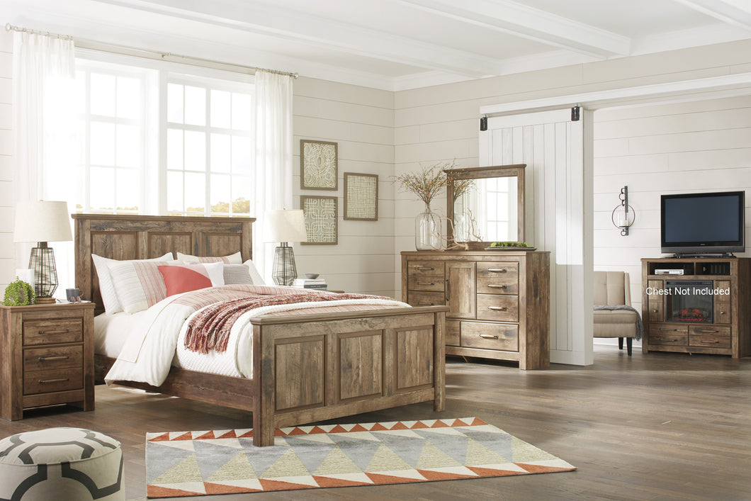 Blavilla Casual Brown Bedroom Set: Queen Panel Bed, Dresser, Mirror, Nighstand