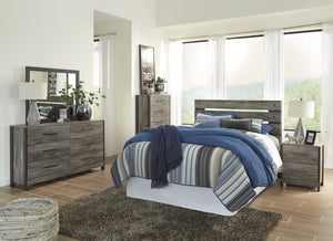 Cazeneril Contemporary Black/Gray Bedroom Set: Queen Bed, Dresser, Mirror, Nightstand, Chest
