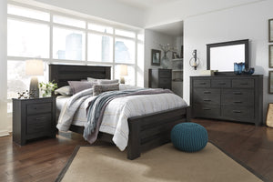 Brinxony Casual Black Bedroom Set: Queen Bed, Dresser, Mirror, Nightstand, Chest