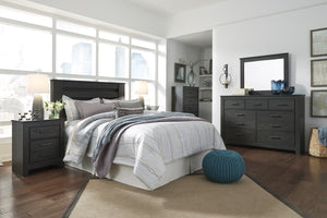 Brinxony Casual Black Bedroom Set: King/California King Panel Headboard, Dresser, Mirror, 2 Nightstand, Chest