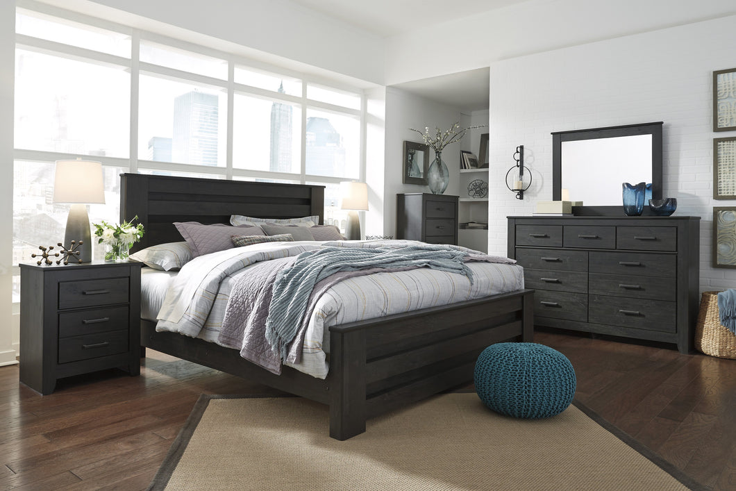Brinxony Casual Black Bedroom Set: King Bed, Dresser, Mirror, Nightstand, Chest