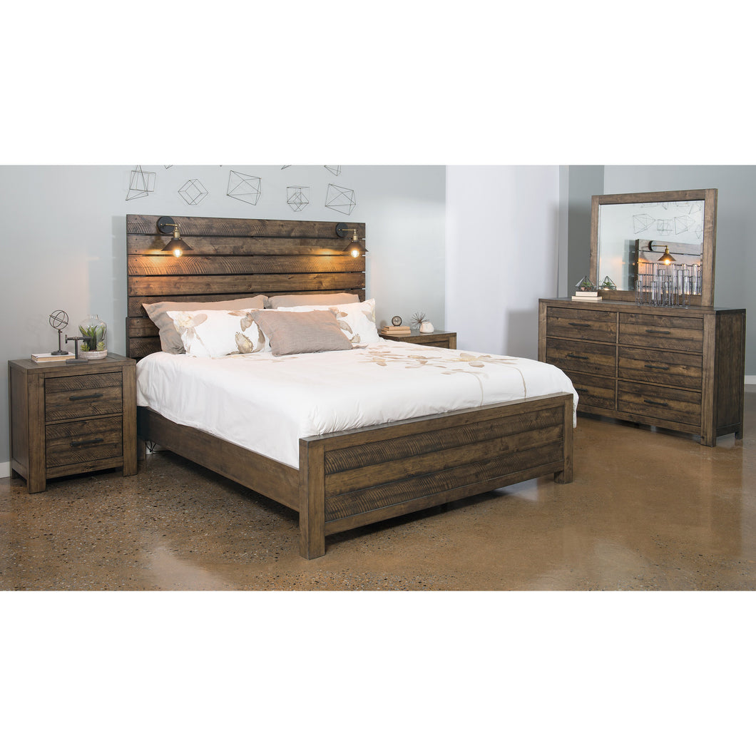 Dajono Rustic Brown Finish 5-Piece Bedroom Set-King Bed, Dresser, Mirror and 2 Nightstands