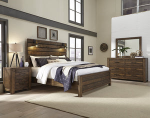 Dajono Rustic Brown Finish 5-Piece Bedroom Set-Queen Bed, Dresser, Mirror, Nightstand and Chest