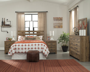 Cinrie Casual Medium Brown Bedroom Set: Queen Slat Headboard, Dresser, Mirror, 2 Nightstands, Media Chest
