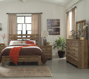 Cinrie Casual Medium Brown Bedroom Set: Queen Slat Bed, Dresser, Mirror, Nightstand, Media Chest