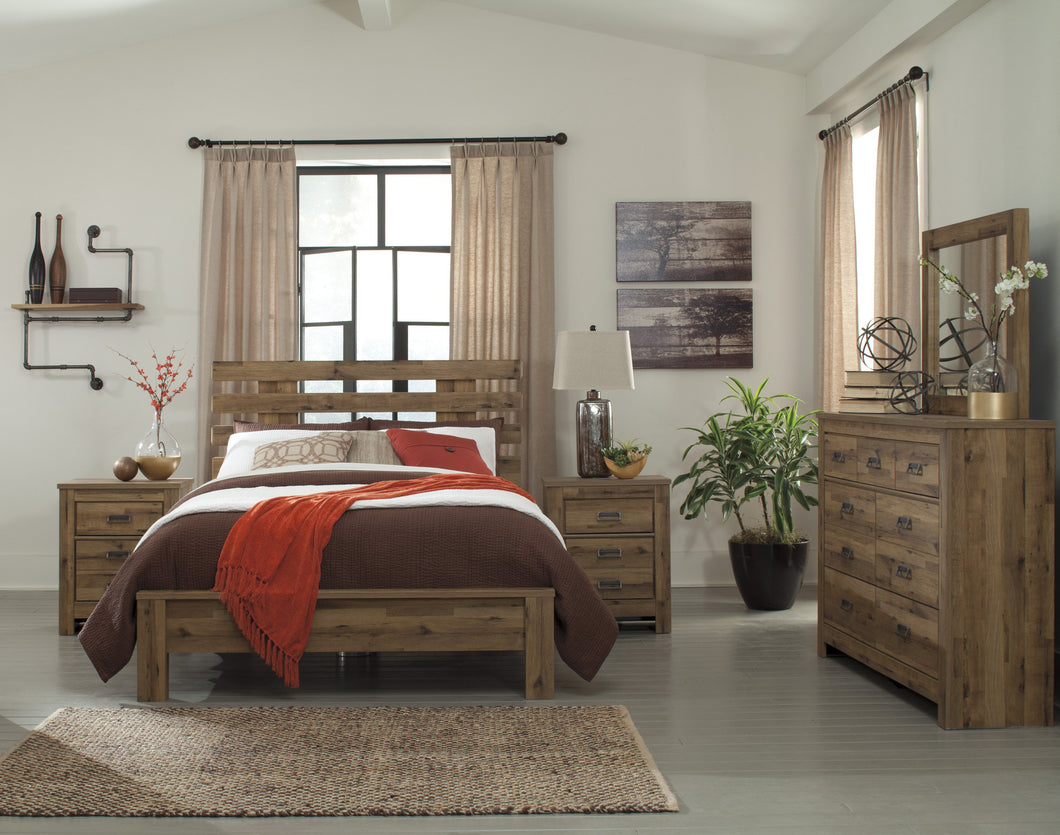 Cinrie Casual Medium Brown Bedroom Set: Queen Slat Bed, Dresser, Mirror, 2 Nightstands, Media Chest