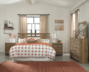 Cinrie Casual Medium Brown Bedroom Set: King/California King Slat Headboard, Dresser, Mirror, 2 Nightstands, Media Chest