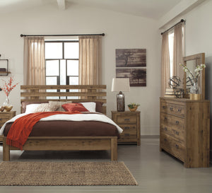 Cinrie Casual Medium Brown Bedroom Set: King Slat Bed, Dresser, Mirror, Nightstand, Media Chest