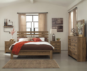 Cinrie Casual Medium Brown Bedroom Set: King Slat Bed, Dresser, Mirror, 2 Nightstands, Media Chest