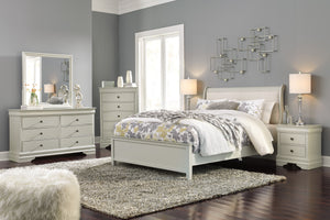 Ararat Louis Phillippe Style Queen Uplostered Sleigh Bed with Dresser, Mirror, Nightstand and Chest