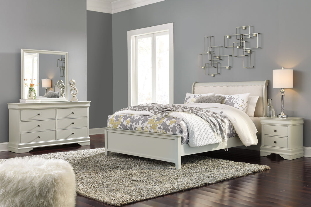 Ararat Louis Phillippe Style Queen Uplostered Sleigh Bed with Dresser, Mirror, Nightstand