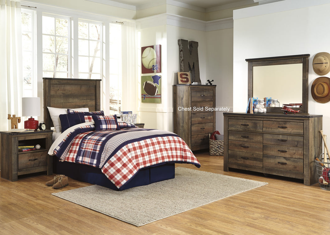 Cremona Brown Casual Bedroom Set with Twin Panel Headboard  Dresser, Mirror, 2 Nightstands