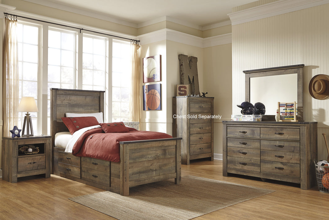 Cremona Brown Casual Bedroom Set: Twin Panel Bed with 2 Drawer Storage, Dresser, Mirror, 2 Nightstands