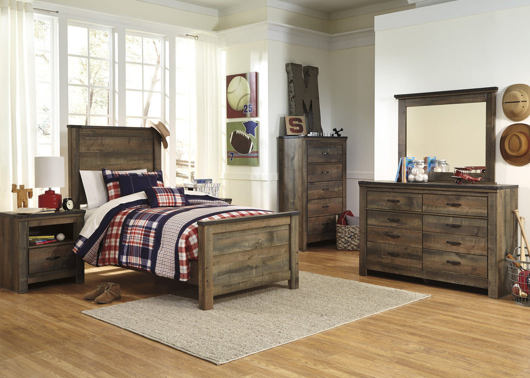 Cremona Brown Casual Bedroom Set with Twin Panel Bed, Dresser, Mirror, Nightstand, Chest