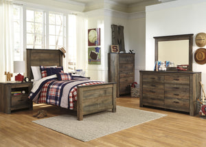 Cremona Brown Casual Bedroom Set with Twin Panel Bed, Dresser, Mirror, 2 Nightstands, Chest