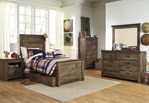 Cremona Brown Casual Bedroom Set: Twin Panel Bed with Underbed Storage, Dresser, Mirror, Nightstand, Chest