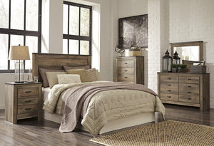 Cremona Brown Casual Bedroom Set: Queen Panel Headboard, Dresser, Mirror, Nightstand, Chest